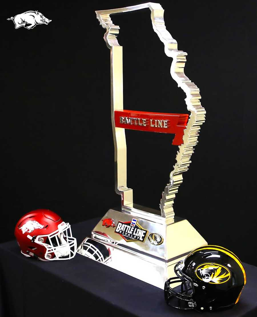 The trophy will stay with the winner of the Battle Line Rivalry game between Arkansas and Missouri