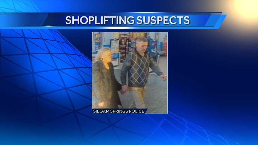 Siloam Springs police are searching for two people accused of shoplifting.