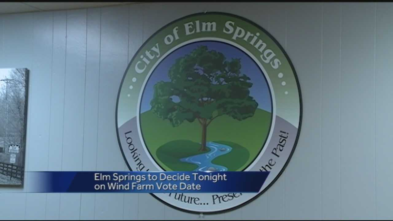 40/29's Meghan Kee reports from Elm Springs where the council will decide on a date for the public vote on land annexation for a wind farm project.