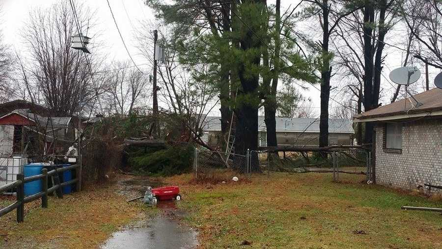 Photos showing wind damage in Siloam Springs from Saturday night as rain and strong winds moved through Northwest Arkansas.
