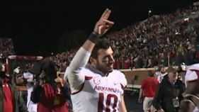 Brandon Allen salutes fans after victory over Ole Miss