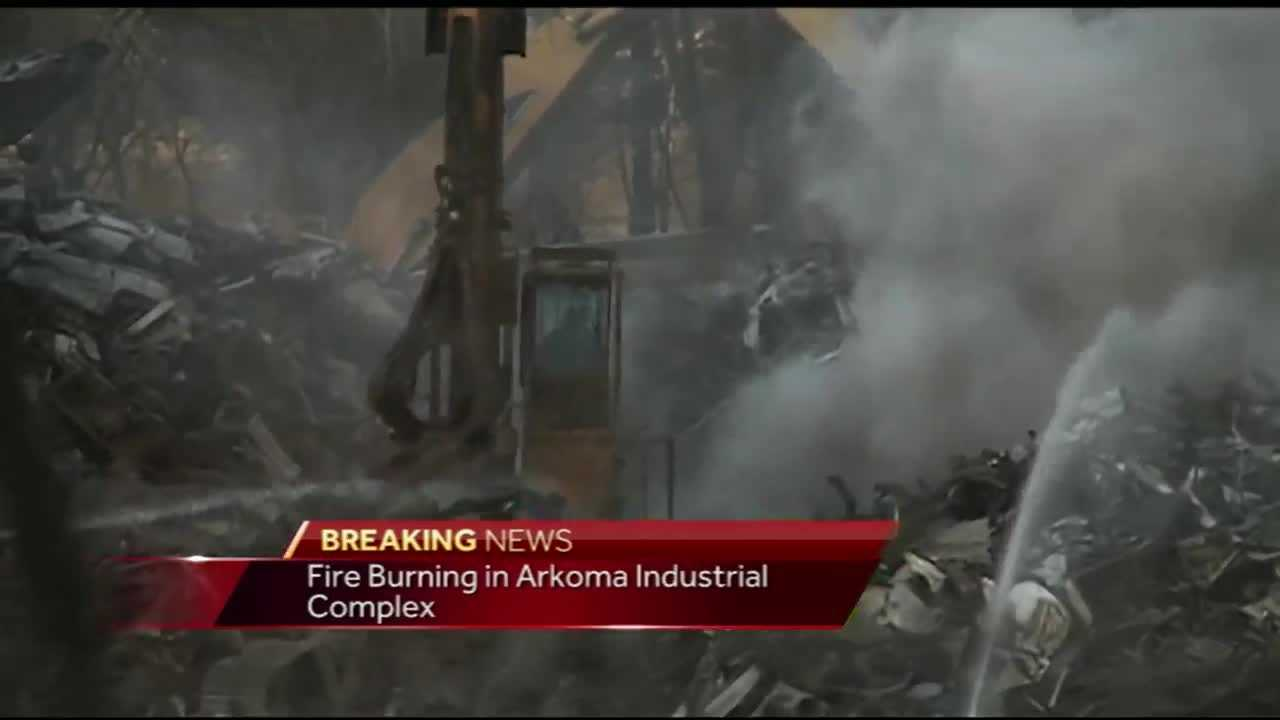 Fire burns at industrial site in Arkoma.