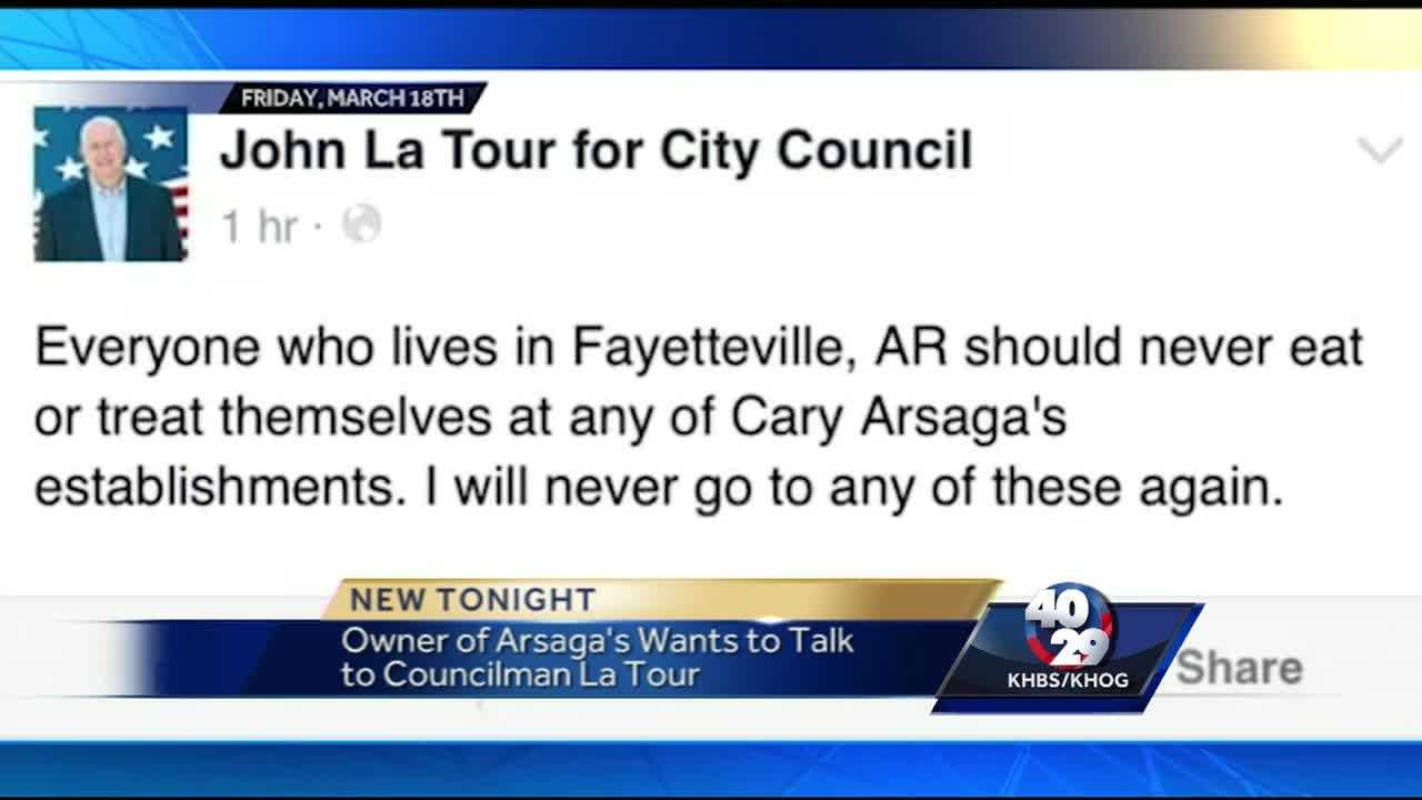 Fayetteville councilman John La Tour will hold a conference to address the heated exchange between him and an employee at Arsaga's.