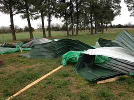 A barn was blown apart in Evansville.