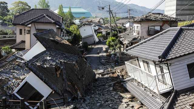 Destroyed houses are seen after an earthquake on April 16, 2016, in Kumamoto, Japan