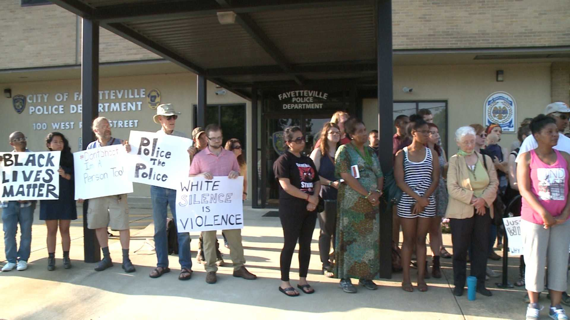 A vigil and protest outside the Fayetteville Police Department took place Wednesday night after 31-year-old Willie Tillman died from the injuries he suffered after he was shot by police more than two weeks ago.
