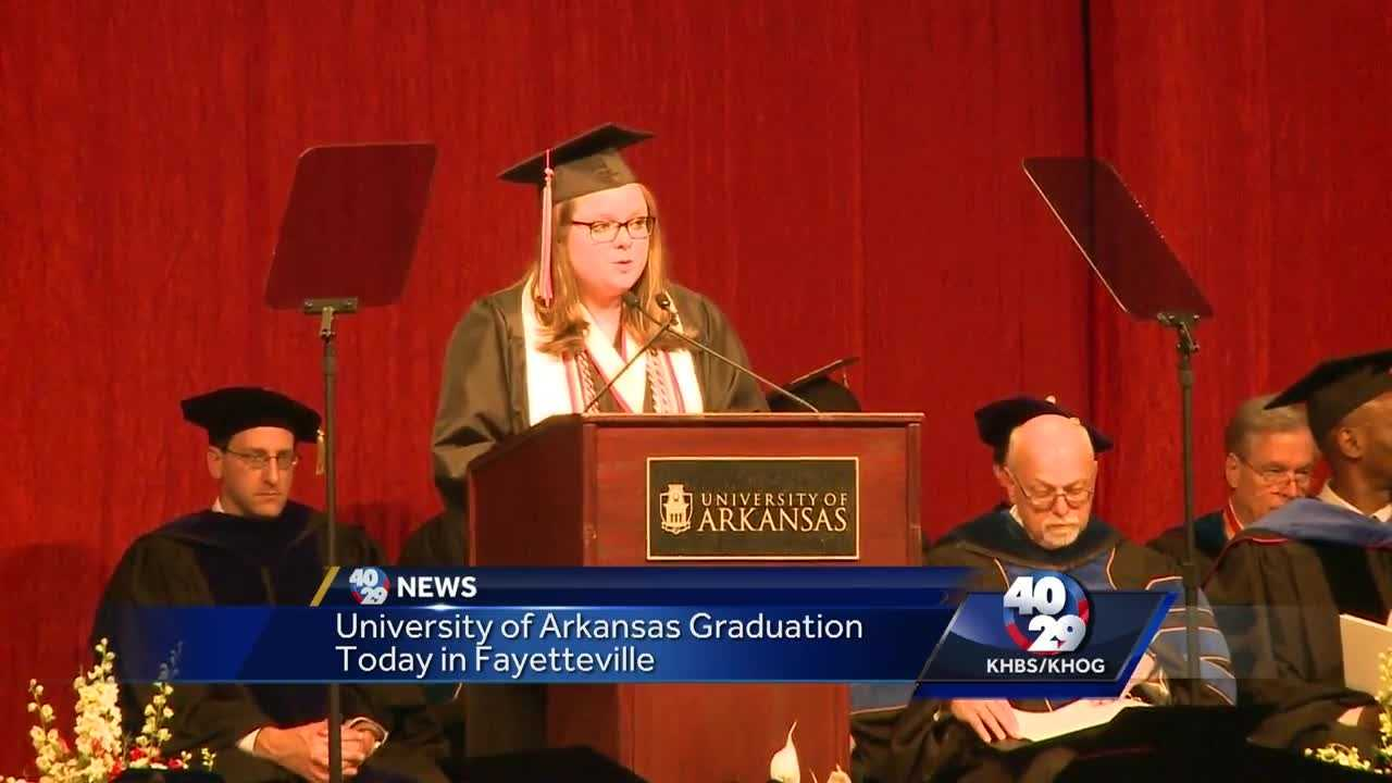 Today, University of Arkansas graduates will walk  at the Bud Walton Arena starting at 8:30 this morning.
