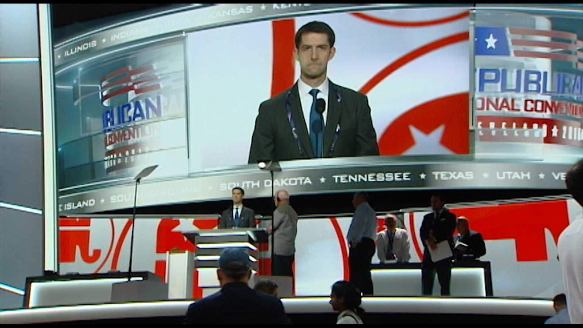 Sen. Tom Cotton at Republican National Convention rehearsal on Sunday