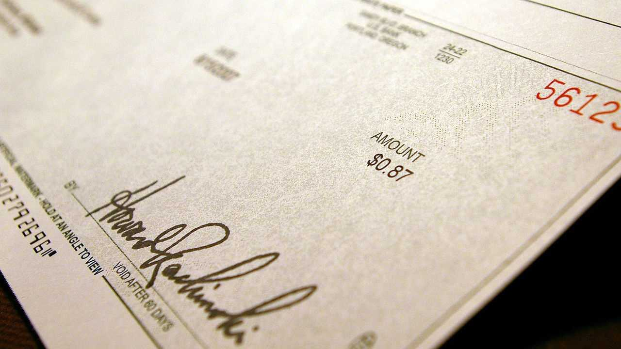 File image of a check