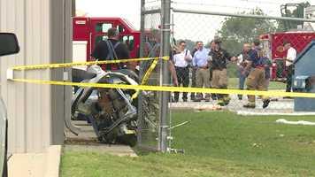 The crash left debris at the airport.