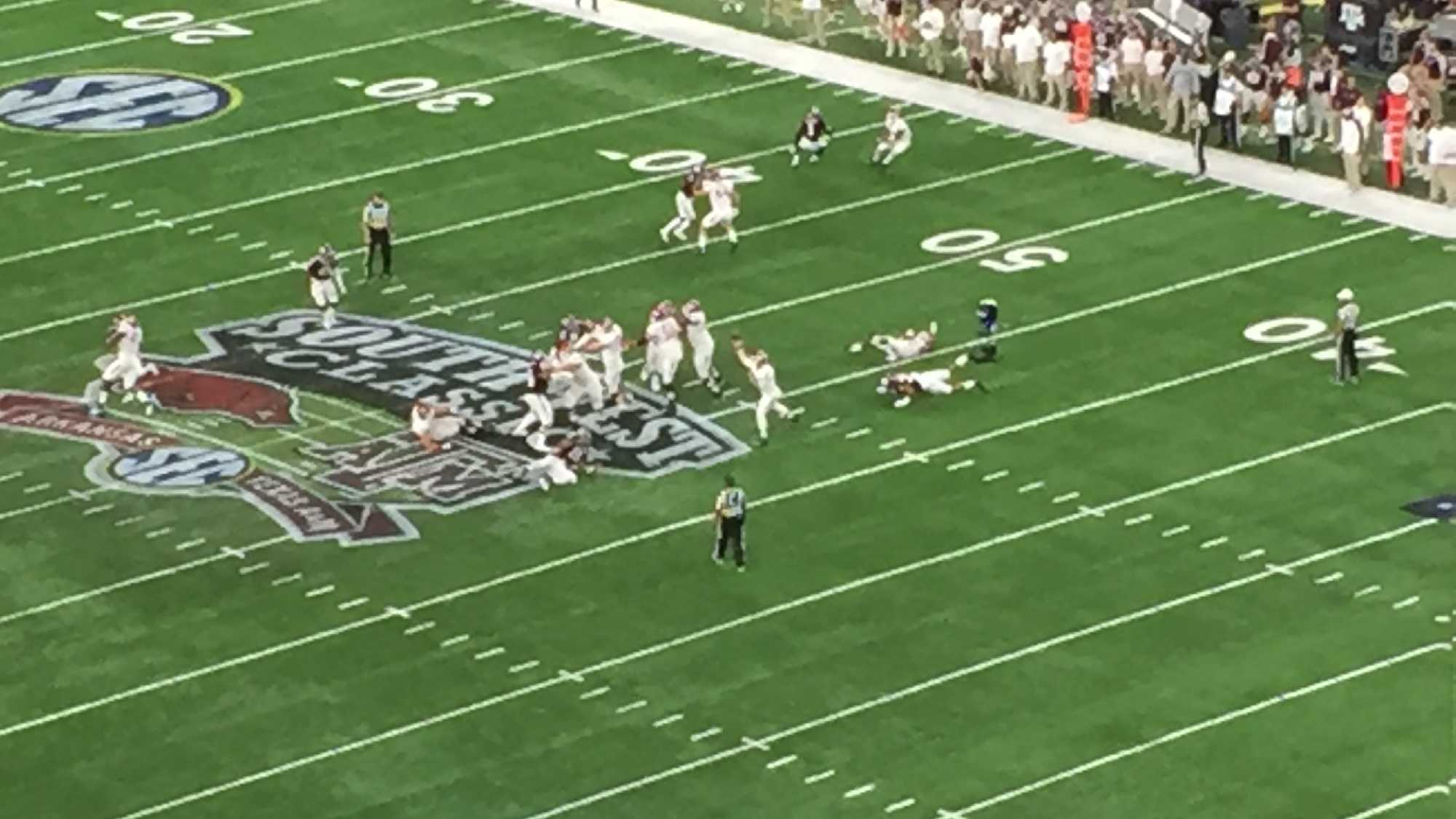 Aerial view of Razorbacks taking on the Aggies in Jerry's World