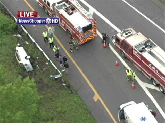 A vehicle flipped on a ramp to 9 Highway near Briarcliff on Tuesday morning.