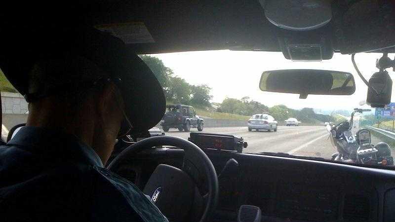 Missouri Highway Patrol, trooper watches traffic