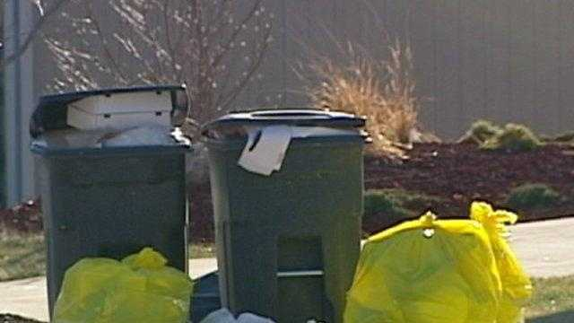 trash, garbage cans by driveway, generic - 18381428
