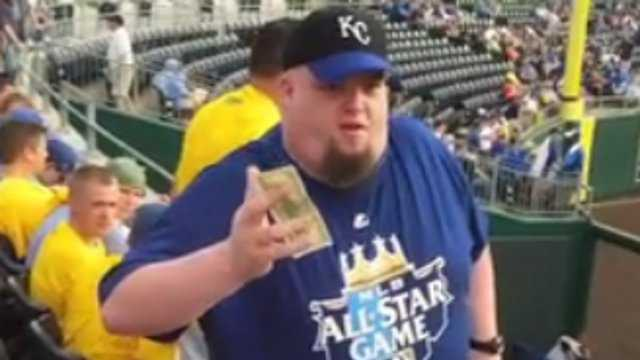 Royals outfielder Jeff Francouer tossed a ball with a $100 bill attached to one lucky fan on Thursday night.