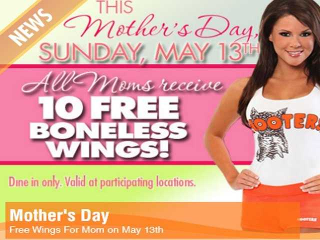 Participating Hooters locations are giving moms 10 free boneless wings on Mother's Day.