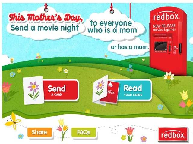 If you send your mom a Mother's Day card from Redbox's Facebook page, you'll get a code for a free rental.