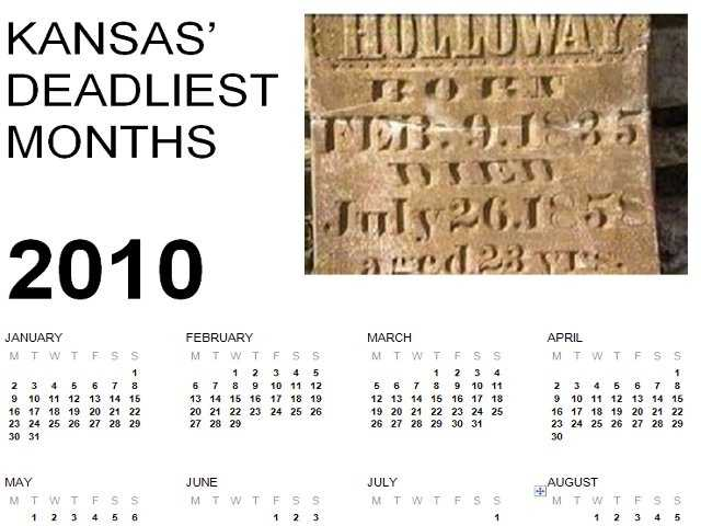 Click through the slideshow to find out which month is the deadliest in Kansas. The list is based on the Kansas Department of Health and Environment's Deaths by County of Residence statistics from 2010.