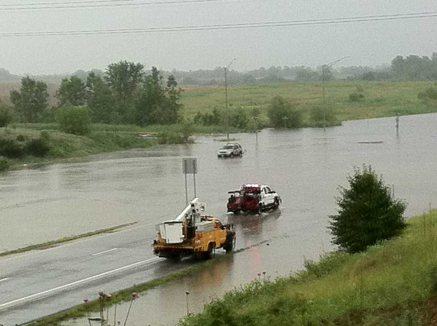 A flooded Highway 150 at 291 in Lee's Summit, Mo.