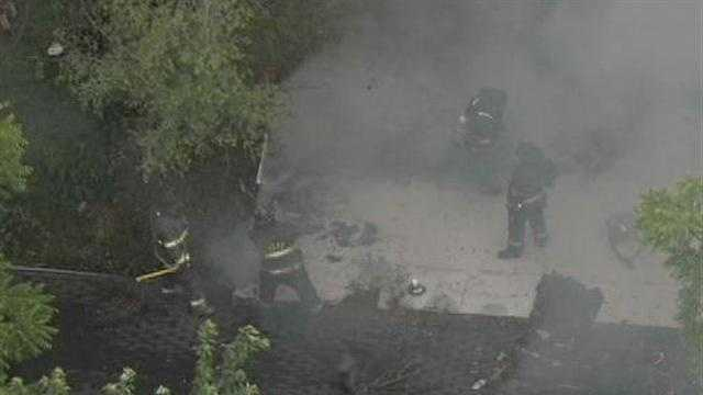 NewsChopper 9 HD flies over a house fire at 55th Street and College Avenue.