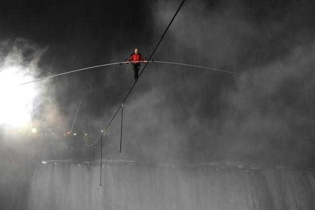 Winds carried the falls' mist into Wallenda's face