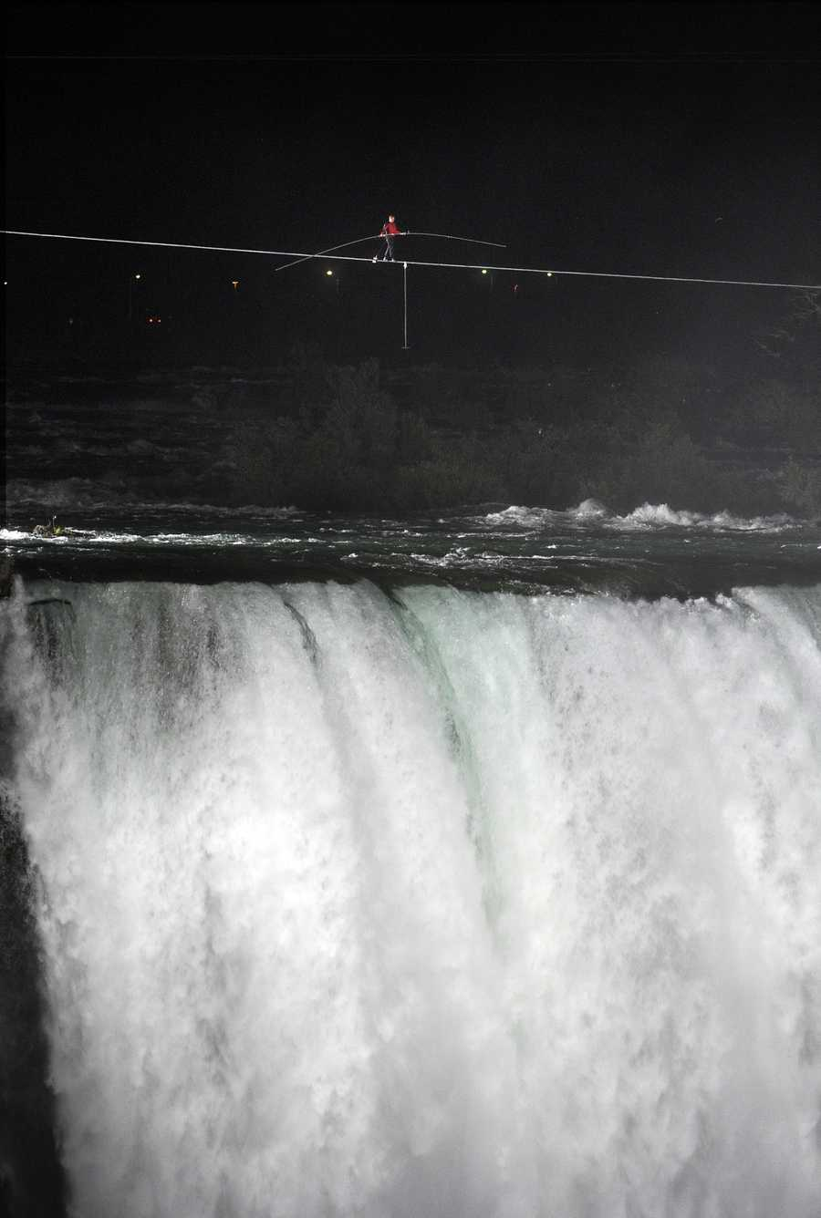 Wallenda crossed the Horseshoe Falls, which is the largest section of Niagara Falls.