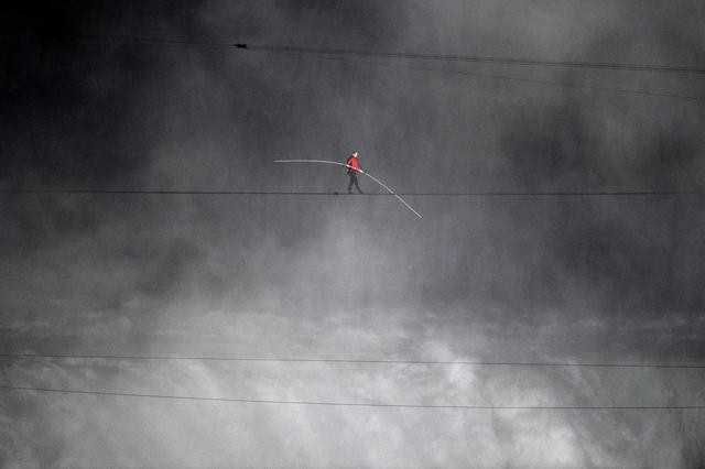 Wallenda crossed the falls about 200 feet in the air.