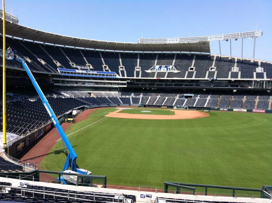 The crews at Kauffman Stadium are getting ready for the 2012 All-Star game, which is happening on July 10.  The Kansas City Royals will not play a home game at Kauffman until after the All-Star Game.