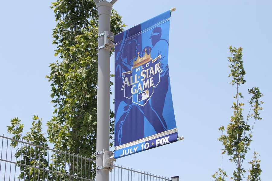 All-Star Game flags have been put up around the stadium.
