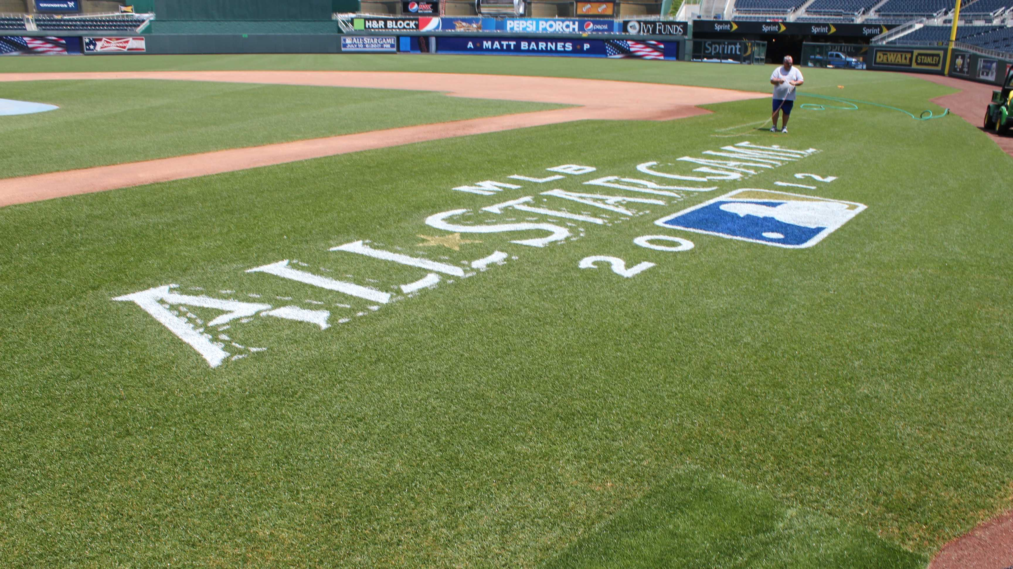 The All-Star Game logo along the first base side.