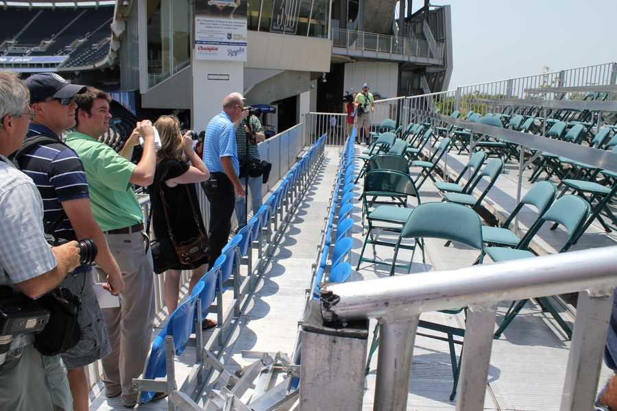 Another view of the media bleachers in left field.