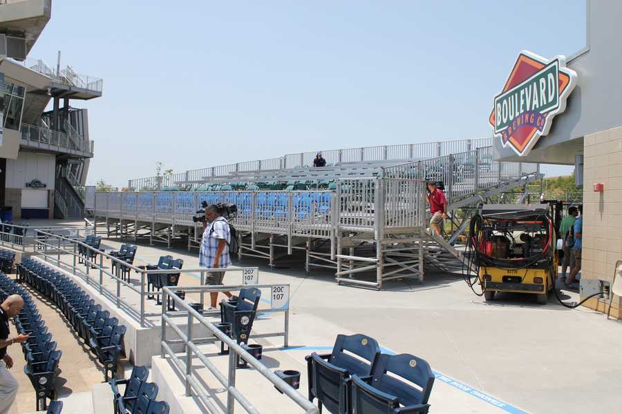 More media bleachers are being constructed in left field.