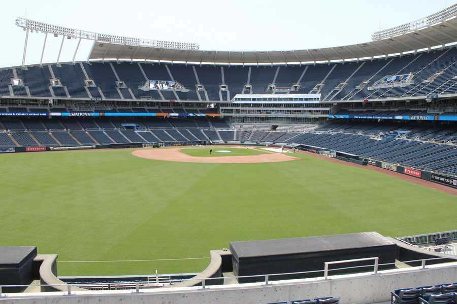 A view of the field at Kauffman Stadium from right field.