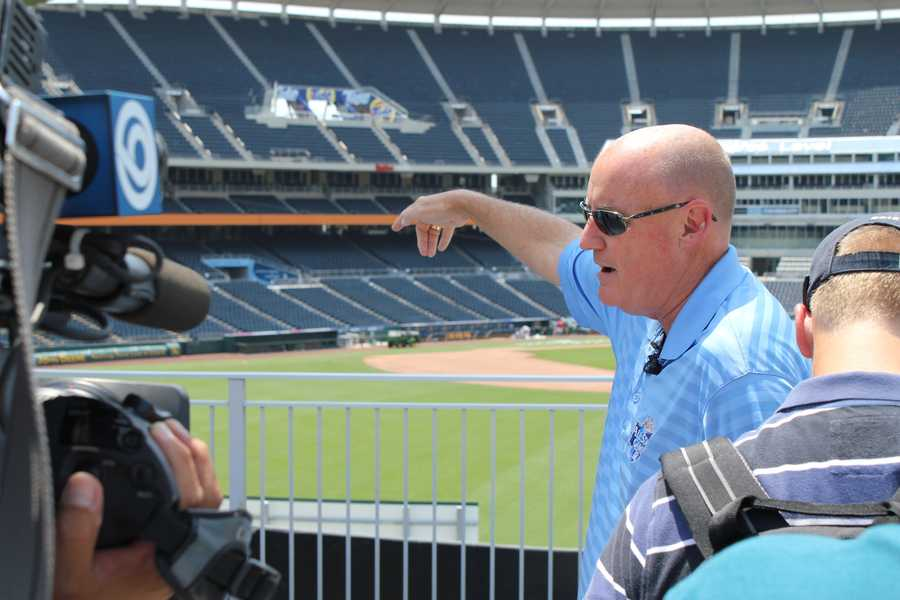 Kansas City Royals Vice President of Communications and Broadcasting shows where some members of the media will sit.