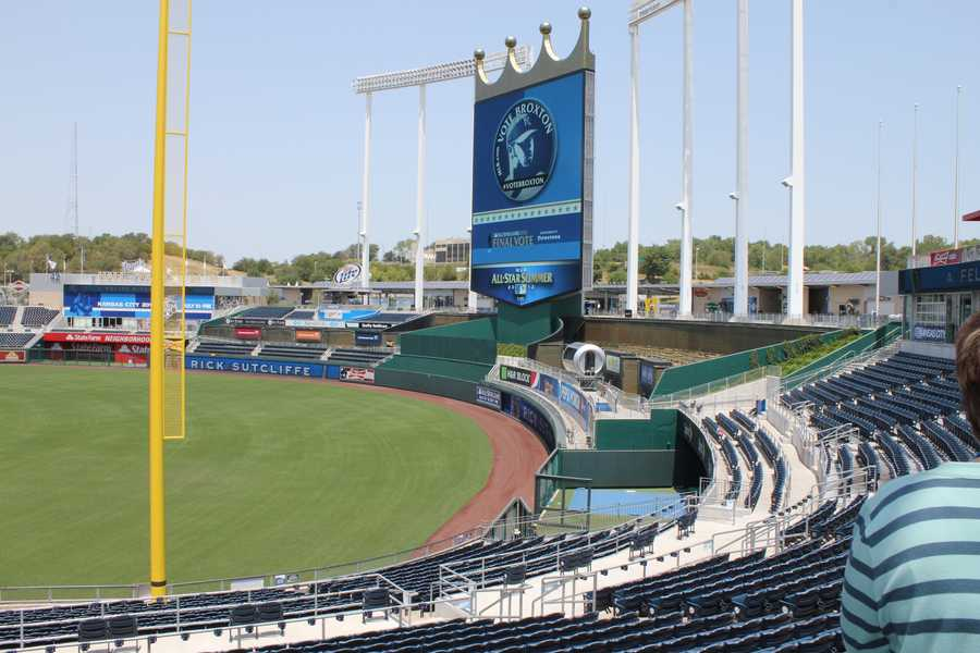 A view of the outfield at Kauffman Stadium.