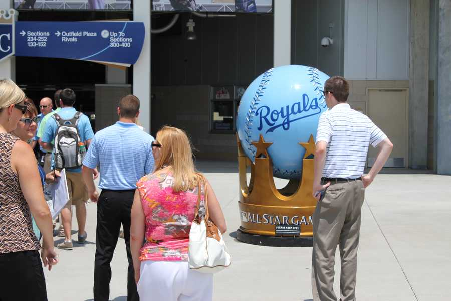An All-Star Game ball on display outside Kauffman Stadium.