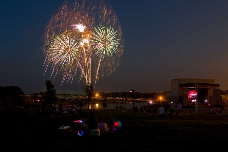 The average low temperature on the 4th of July is 69 degrees. (Kearney 4th of July fireworks image by philtunes)