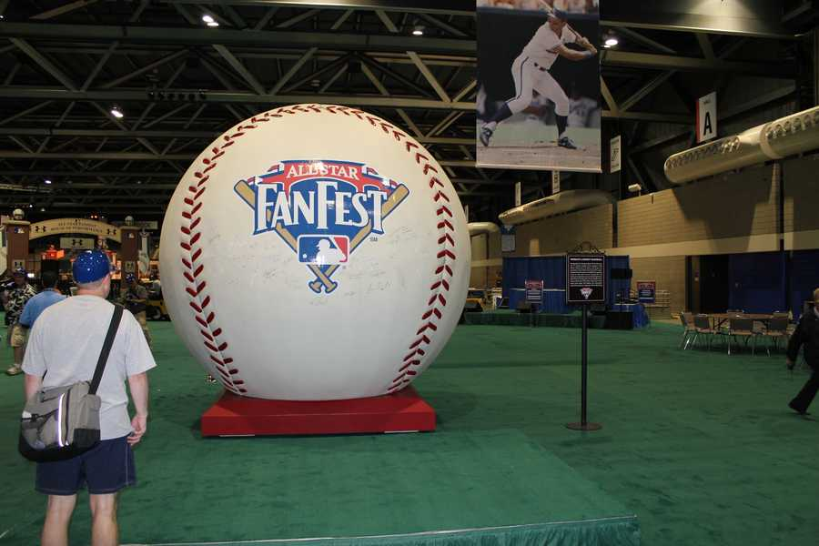 The World's Largest Baseball is on display at MLB FanFest.