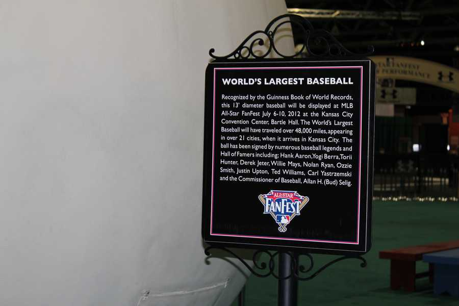 A sign certifying the ball as the world's largest baseball