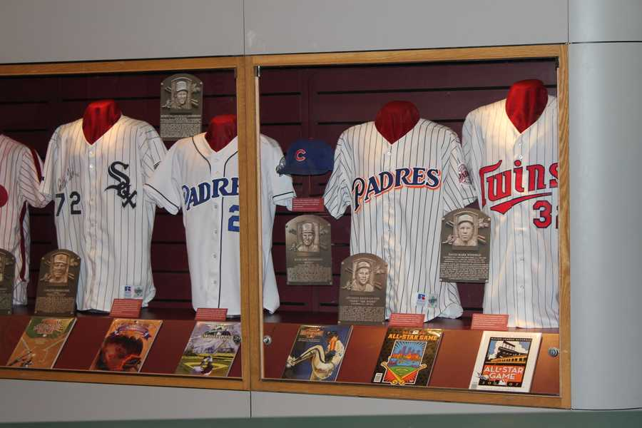 Jerseys and player plaques from the National Baseball Hall of Fame & Museum