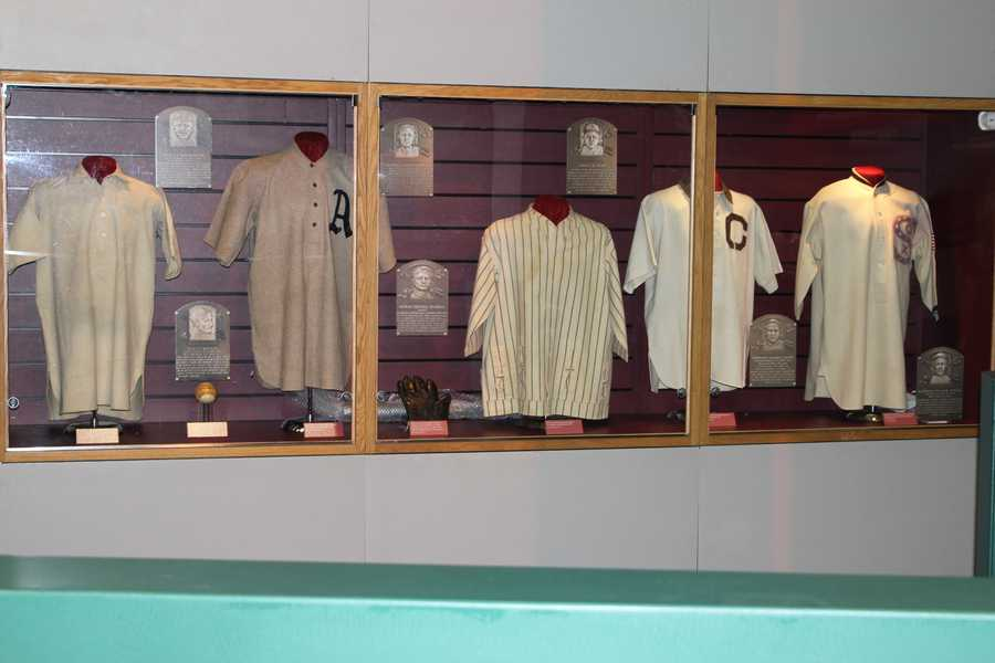 Memorabilia from the National Baseball Hall of Fame & Museum.
