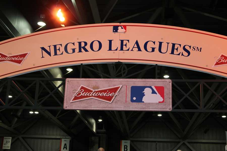 A display from the Negro Leagues museum at MLB FanFest.