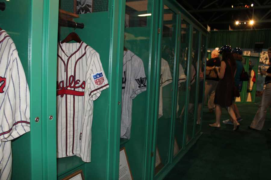 Negro Leagues jerseys on display at MLB FanFest.