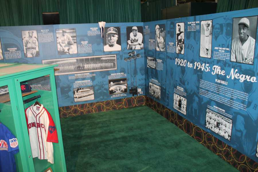 A Negro Leagues wall display at FanFest.