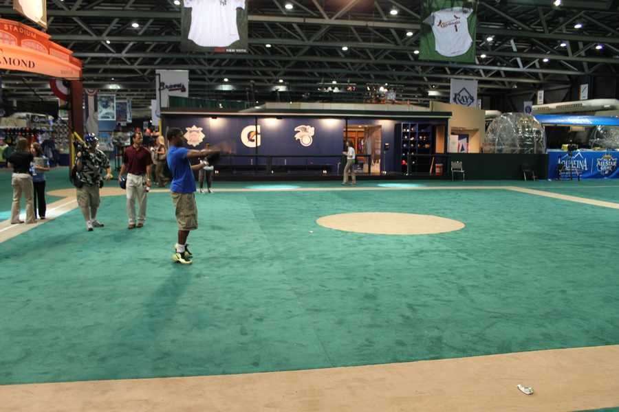 People playing on The Diamond at MLB FanFest.