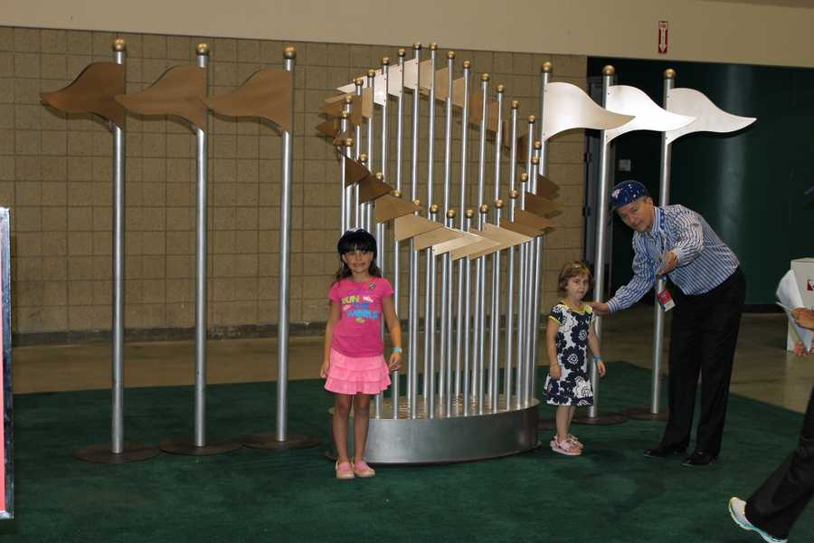 Take your picture at a huge World Series Trophy.