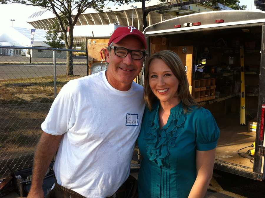 KMBC's Jana Corrie with Extreme Makeover Home Edition's Paul DiMeo.