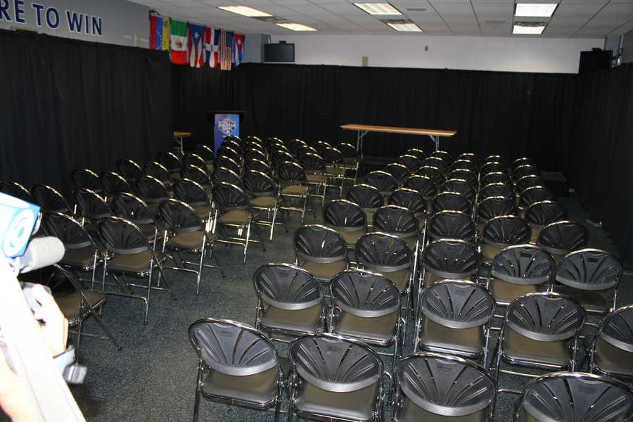 Media room where news conferences will happen.  This is usually the Kansas City Royals weight room.