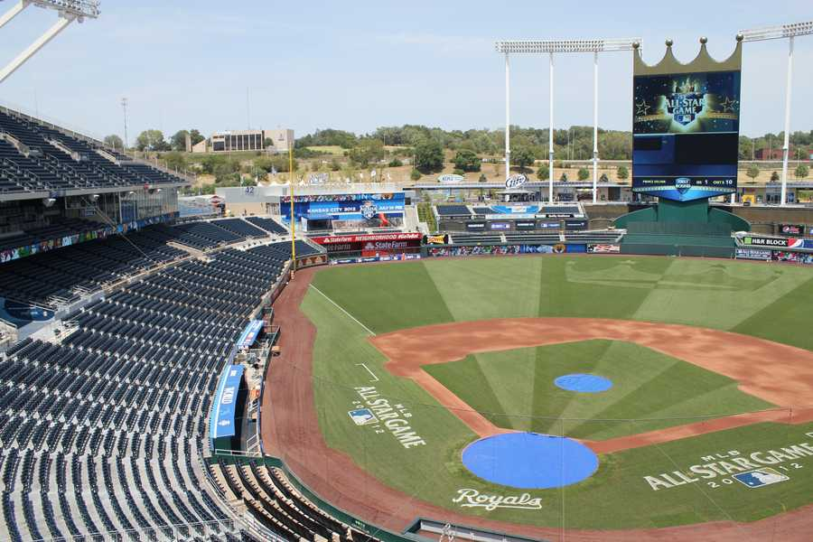 Here you can see the new outfield design, along with ESPN's set in left field and the MLB Fan Cave, also in left field.