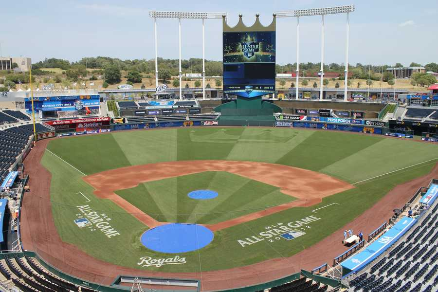 Check out how Kauffman Stadium has transformed for the All-Star Game. Note the new pattern in the outfield, which showcases the Royals famous crown design.